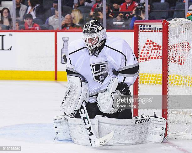 Jhonas Enroth of the Los Angeles Kings in action against the Calgary Flames during an NHL game at Scotiabank Saddledome on April 5 2016 in Calgary...