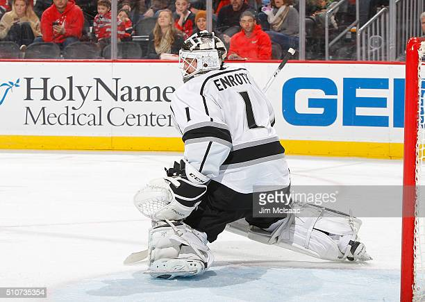 Jhonas Enroth of the Los Angeles Kings in action against the New Jersey Devils at the Prudential Center on February 14 2016 in Newark New Jersey The...