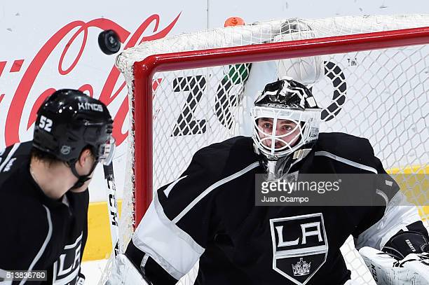 Jhonas Enroth of the Los Angeles Kings makes a save against the Buffalo Sabres on February 27 2016 at Staples Center in Los Angeles California