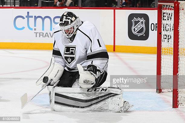 Jhonas Enroth of the Los Angeles Kings skates against the New York Islanders at the Barclays Center on February 11 2016 in Brooklyn borough of New...