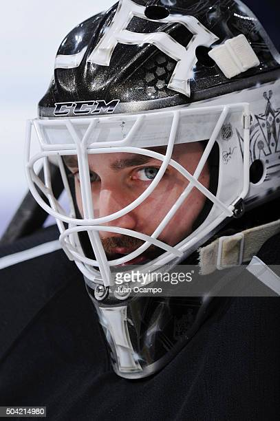 Jhonas Enroth of the Los Angeles Kings skates in warmups prior to the game against the St Louis Blues on January 9 2016 at Staples Center in Los...