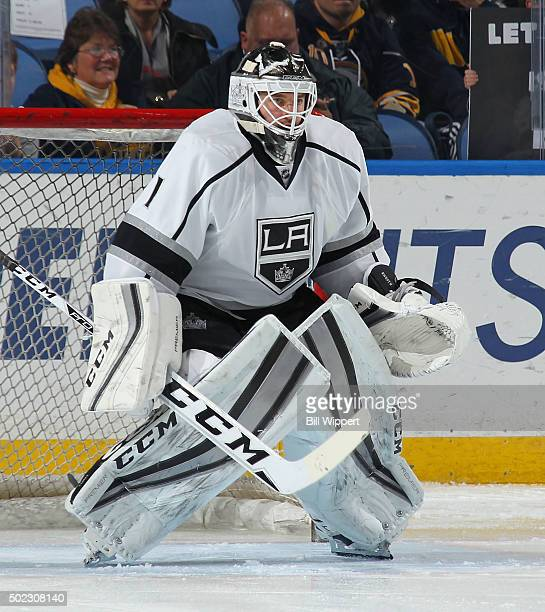 Jhonas Enroth of the Los Angeles Kings warms up before playing against the Buffalo Sabres in an NHL game on December 12 2015 at the First Niagara...