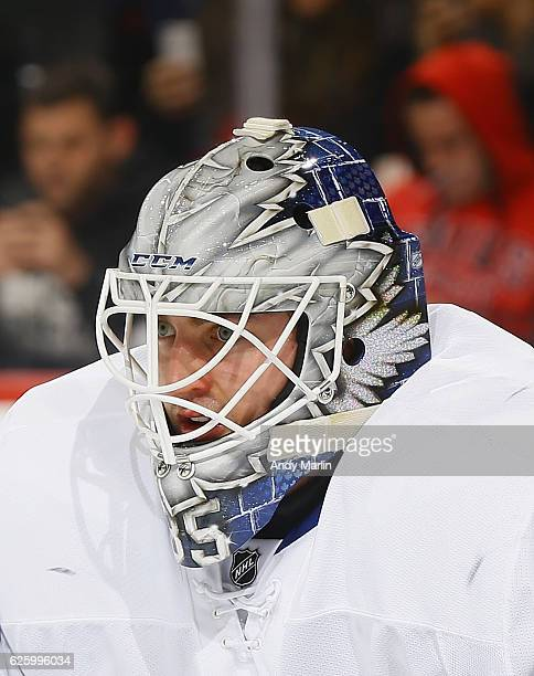 Jhonas Enroth of the Toronto Maple Leafs looks on against the New Jersey Devils during the game at Prudential Center on November 23 2016 in Newark...