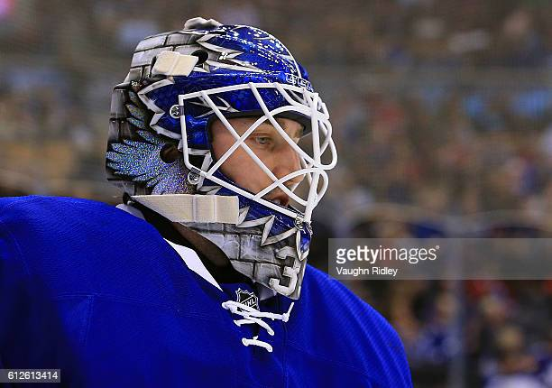 Jhonas Enroth of the Toronto Maple Leafs looks on during an NHL preseason game against the Montreal Canadiens at Air Canada Centre on October 2 2016...