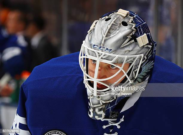 Jhonas Enroth of the Toronto Maple Leafs skates against the Philadelphia Flyers at the Air Canada Centre on November 11 2016 in Toronto Canada The...