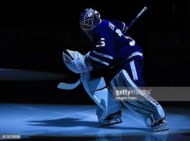 Jhonas Enroth of the Toronto Maple Leafs takes to theice prior to an NHL preseason game against the Montreal Canadiens at Air Canada Centre on...
