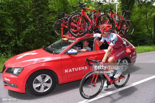 Jhonatan Restrepo of Colombia and Team Katusha Alpecin / Dmitry Konyshev of Russia Sportsdirector / Feeding / Car / during the 70th Criterium du...
