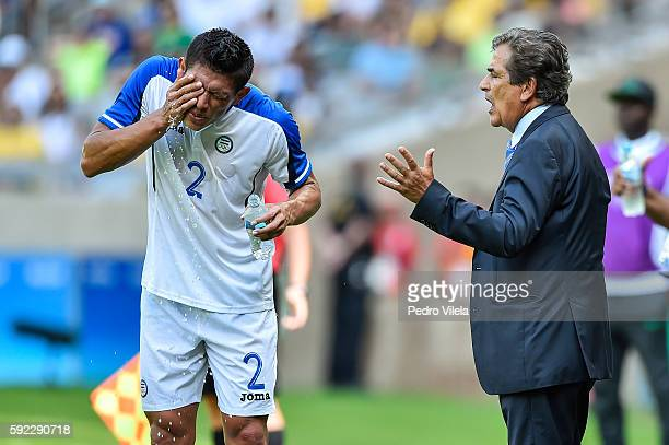 Jhonathan PAZ and Jorge Luis PINTO coach of Honduras during a match between Nigeria and Honduras as part of Men`s Football Olympics at Mineirao...