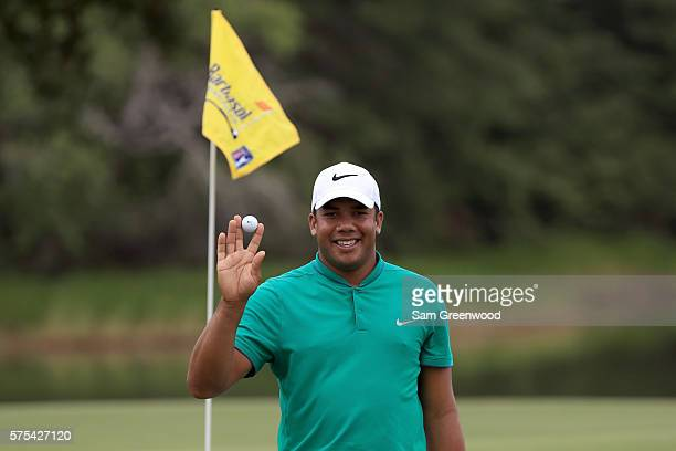 Jhonattan Vegas of Venezuela acknowledges the crowd after his holeinone on the seventeenth hole during the second round of the Barbasol Championship...