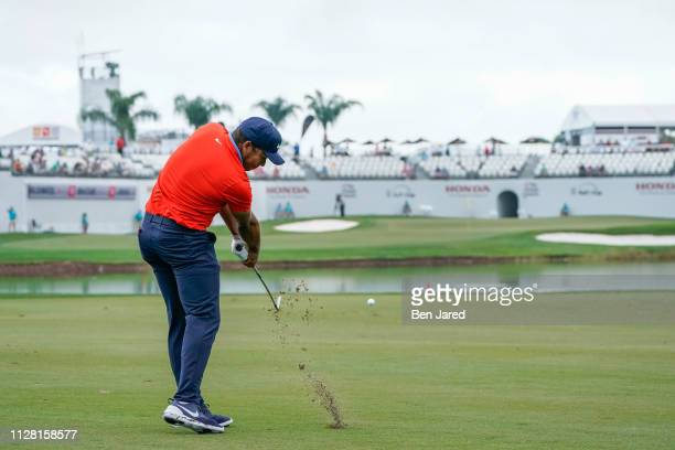 Jhonattan Vegas of Venezuela hits a shot in the sixteenth hole fairway during the first round of The Honda Classic at PGA National Champion course on...