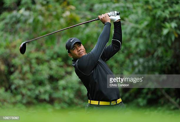 Jhonattan Vegas of Venezuela hits from the 12th tee during the second round of the Northern Trust Open at Riviera Country Club on February 18 2011 in...
