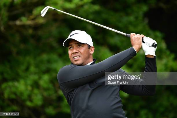 Jhonattan Vegas of Venezuela hits his tee shot on the 5th hole during the second round of the 146th Open Championship at Royal Birkdale on July 21...