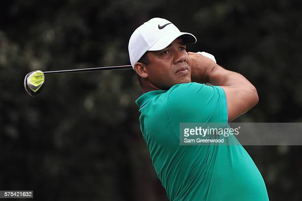 Jhonattan Vegas of Venezuela hits off the eleventh tee during the second round of the Barbasol Championship at the Robert Trent Jones Golf Trail at...