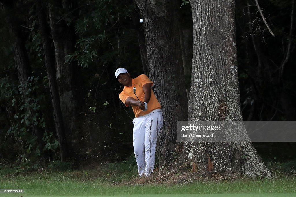 Jhonattan Vegas of Venezuela hits off the fourteenth hole during the third round of the Barbasol Championship at the Robert Trent Jones Golf Trail at Grand National on July 16, 2016 in Auburn, Alabama.