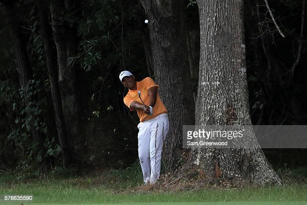Jhonattan Vegas of Venezuela hits off the fourteenth hole during the third round of the Barbasol Championship at the Robert Trent Jones Golf Trail at...
