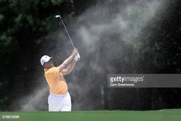 Jhonattan Vegas of Venezuela hits off the fourth hole during the third round of the Barbasol Championship at the Robert Trent Jones Golf Trail at...