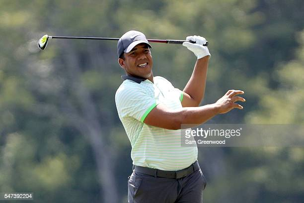 Jhonattan Vegas of Venezuela hits off the ninth tee during the first round of the Barbasol Championship at the Robert Trent Jones Golf Trail at Grand...