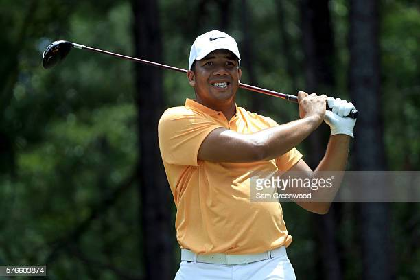 Jhonattan Vegas of Venezuela hits off the second tee during the third round of the Barbasol Championship at the Robert Trent Jones Golf Trail at...