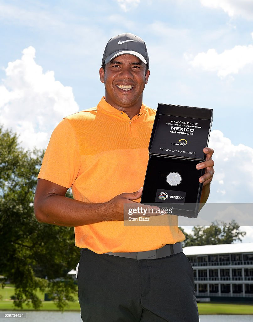 Jhonattan Vegas of Venezuela is presented a WGC Mexico Championship silver coin during practice for the TOUR Championship, the final event of the FedExCup Playoffs, at East Lake Golf Club on September 20, 2016 in Atlanta, Georgia.