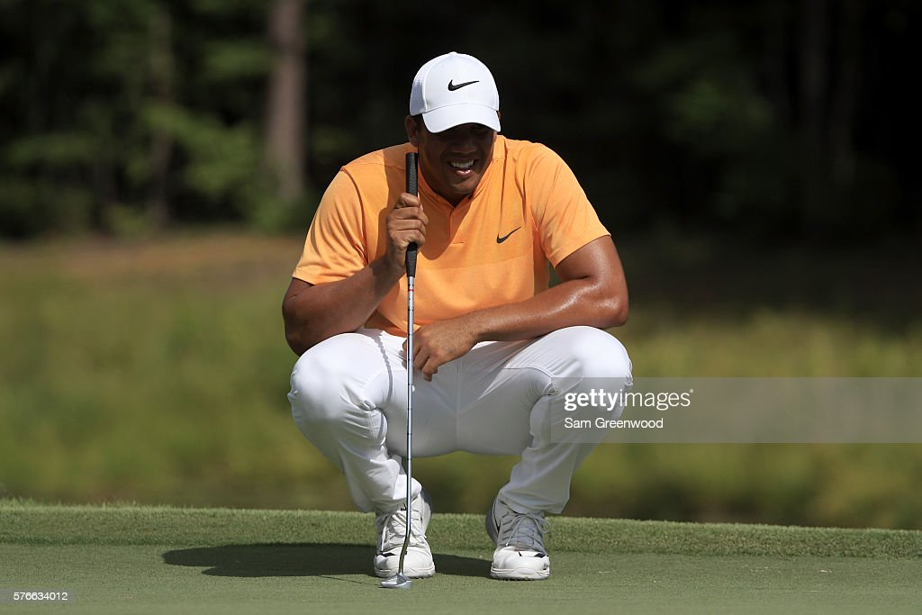 Jhonattan Vegas of Venezuela looks on the tenth green during the third round of the Barbasol Championship at the Robert Trent Jones Golf Trail at Grand National on July 16, 2016 in Auburn, Alabama.