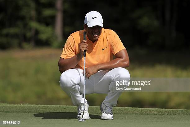 Jhonattan Vegas of Venezuela looks on the tenth green during the third round of the Barbasol Championship at the Robert Trent Jones Golf Trail at...