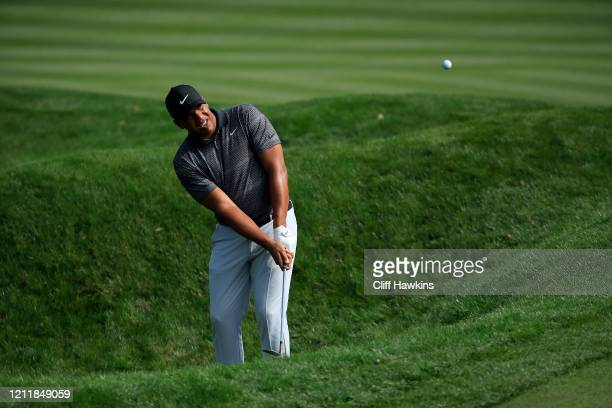 Jhonattan Vegas of Venezuela plays a shot during a practice round prior to The PLAYERS Championship on The Stadium Course at TPC Sawgrass on March...
