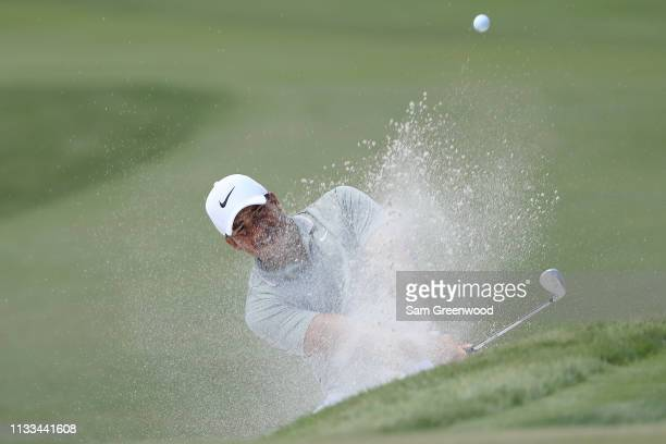 Jhonattan Vegas of Venezuela plays a shot from a bunker on the third hole during the final round of the Honda Classic at PGA National Resort and Spa...