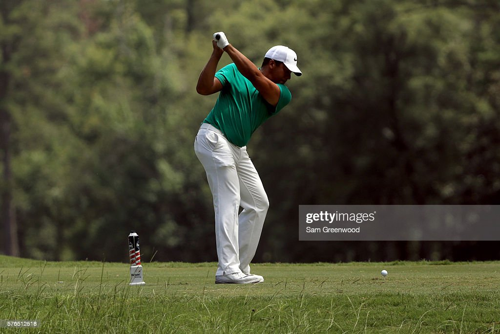 Jhonattan Vegas of Venezuela plays a shot off the fifth tee during the second round of the Barbasol Championship at the Robert Trent Jones Golf Trail at Grand National on July 15, 2016 in Auburn, Alabama.