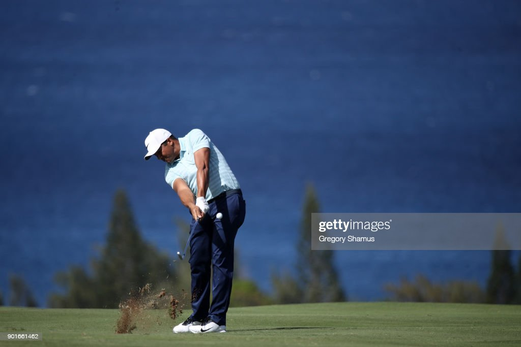 Jhonattan Vegas of Venezuela plays a shot on the fourth hole during the second round of the Sentry Tournament of Champions at Plantation Course at Kapalua Golf Club on January 5, 2018 in Lahaina, Hawaii.