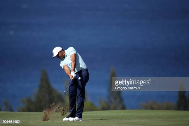 Jhonattan Vegas of Venezuela plays a shot on the fourth hole during the second round of the Sentry Tournament of Champions at Plantation Course at...