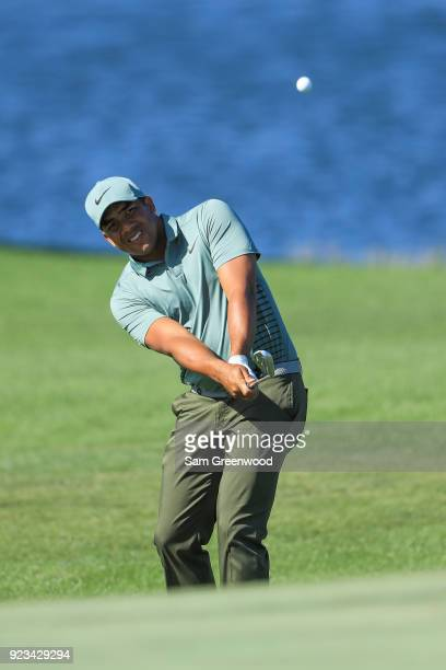 Jhonattan Vegas of Venezuela plays a shot on the ninth hole during the second round of the Honda Classic at PGA National Resort and Spa on February...