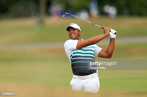 Jhonattan Vegas of Venezuela plays his second shot on the 17th hole during the final round of the RBC Canadian Open at Glen Abbey Golf Club on July...