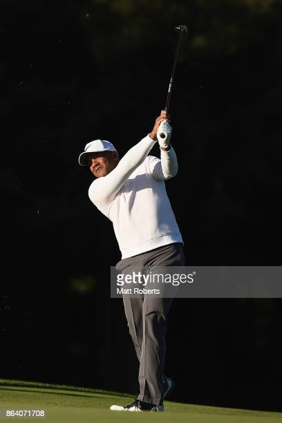 Jhonattan Vegas of Venezuela plays his second shot on the 3rd hole during the third round of the CJ Cup at Nine Bridges on October 21 2017 in Jeju...
