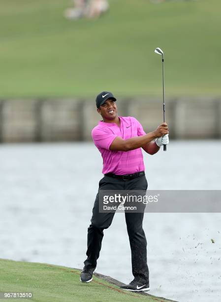 Jhonattan Vegas of Venezuela plays his second shot on the par 4 18th hole during the third round of the THE PLAYERS Championship on the Stadium...