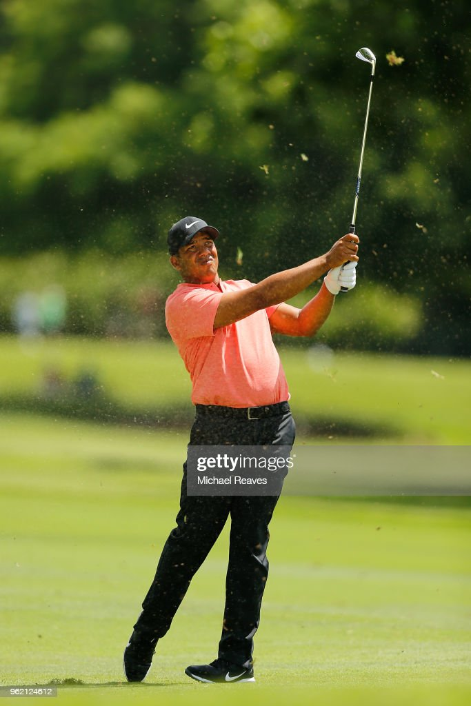 Jhonattan Vegas of Venezuela plays his second shot on the sixth hole during round one of the Fort Worth Invitational at Colonial Country Club on May 24, 2018 in Fort Worth, Texas.