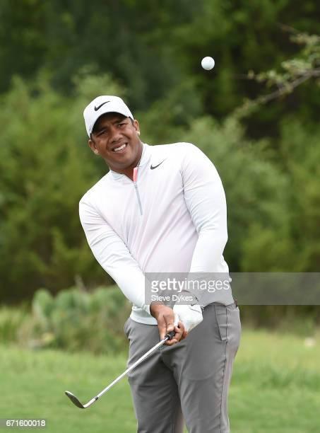 Jhonattan Vegas of Venezuela plays his shot during the third round of the Valero Texas Open at TPC San Antonio ATT Oaks Course on April 22 2017 in...