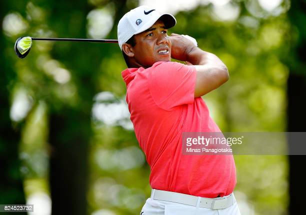 Jhonattan Vegas of Venezuela plays his shot from the 11th tee during the final round of the RBC Canadian Open at Glen Abbey Golf Club on July 30 2017...