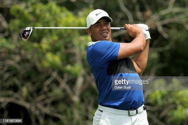 Jhonattan Vegas of Venezuela plays his shot from the second tee during the third round of the John Deere Classic at TPC Deere Run on July 13 2019 in...