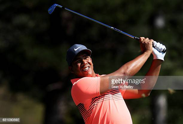 Jhonattan Vegas of Venezuela plays his shot from the second tee during the first round of the SBS Tournament of Champions at the Plantation Course at...