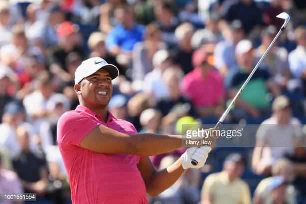 Jhonattan Vegas of Venezuela plays his shot from the third tee during the first round of the 147th Open Championship at Carnoustie Golf Club on July...