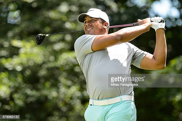 Jhonattan Vegas of Venezuela plays the ball from the eleventh tee during round three of the 2016 RBC Canadian Open at Glen Abbey Golf Course on July...