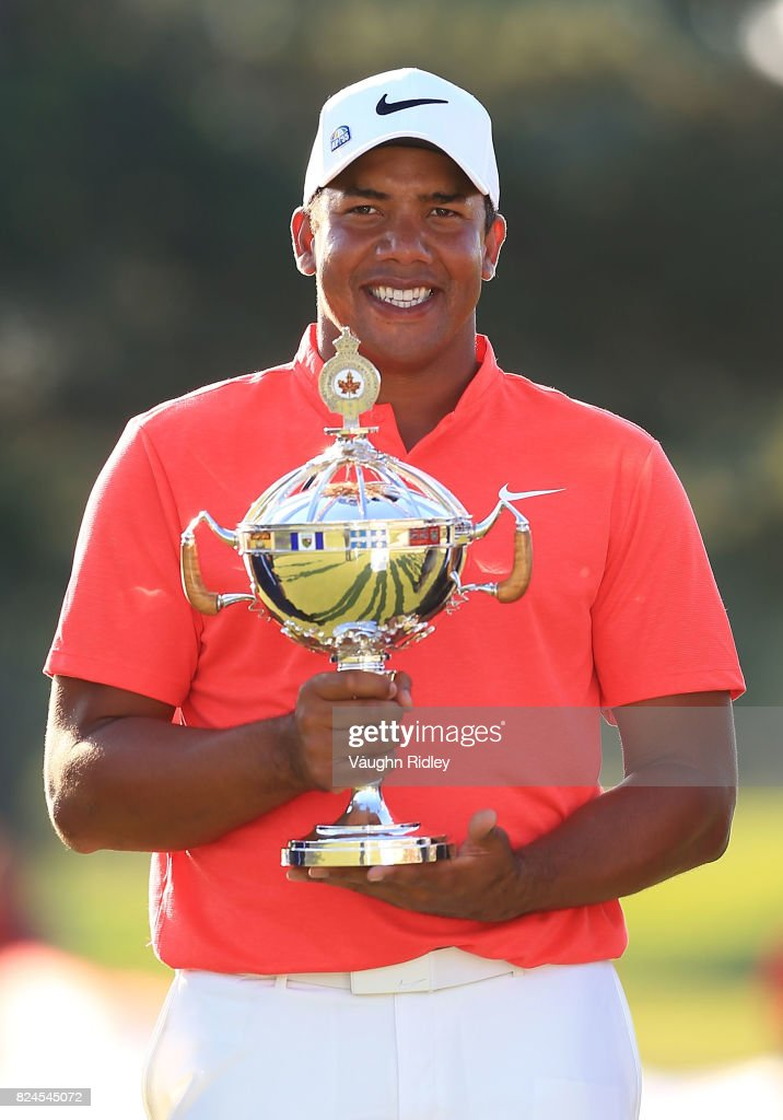 Jhonattan Vegas of Venezuela poses with the trophy following the final round of the RBC Canadian Open at Glen Abbey Golf Club on July 30, 2017 in Oakville, Canada.
