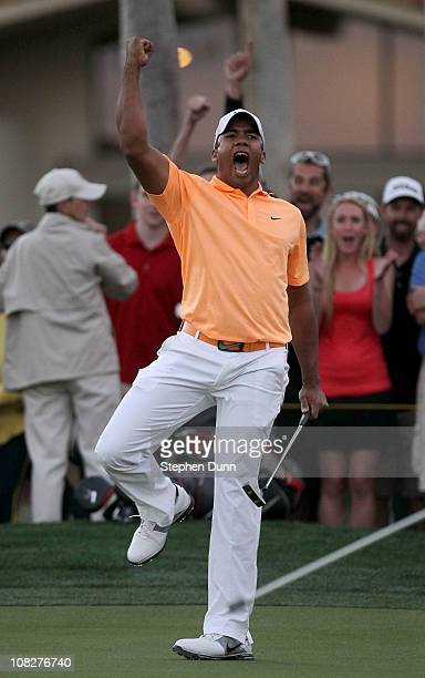 Jhonattan Vegas of Venezuela reacts after making the winning putt on the second playoff hole during the final round of the Bob Hope Classic on the...