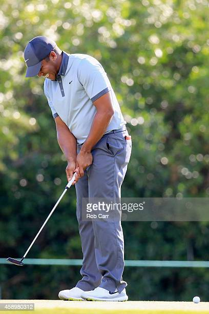 Jhonattan Vegas of Venezuela reacts after missing a putt on the 14th green during the second round of the OHL Classic at Mayakoba on November 14 2014...