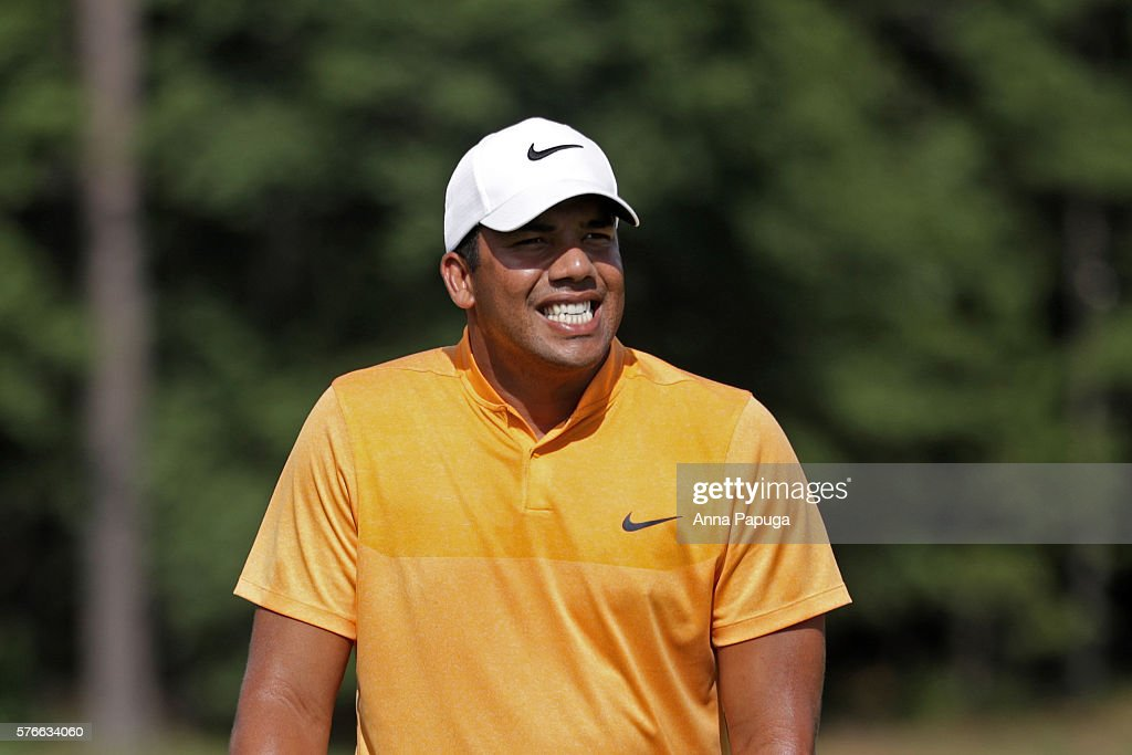 Jhonattan Vegas of Venezuela reacts on the tenth green during the third round of the Barbasol Championship at the Robert Trent Jones Golf Trail at Grand National on July 16, 2016 in Auburn, Alabama.