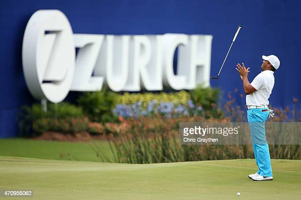Jhonattan Vegas of Venezuela reacts to a missed putt on the 18th hole during round two of the Zurich Classic of New Orleans at TPC Louisiana on April...