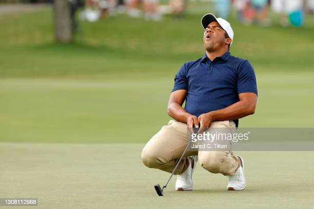Jhonattan Vegas of Venezuela reacts to a missed putt on the ninth green during the third round of The Honda Classic at PGA National Champion course...