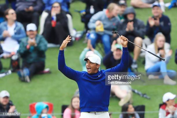 Jhonattan Vegas of Venezuela reacts to his birdie putt on the 17th green during the final round of The PLAYERS Championship on The Stadium Course at...