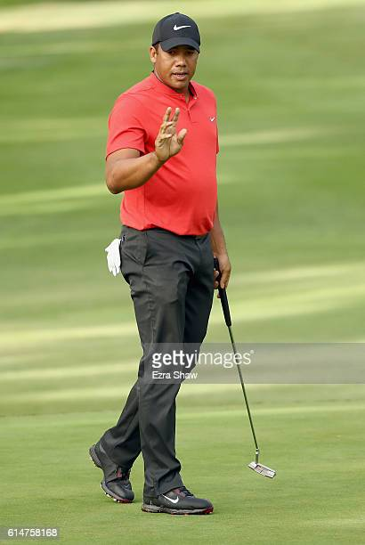 Jhonattan Vegas of Venezuela reacts to his putt on the sixth hole during the second round of the Safeway Open at the North Course of the Silverado...
