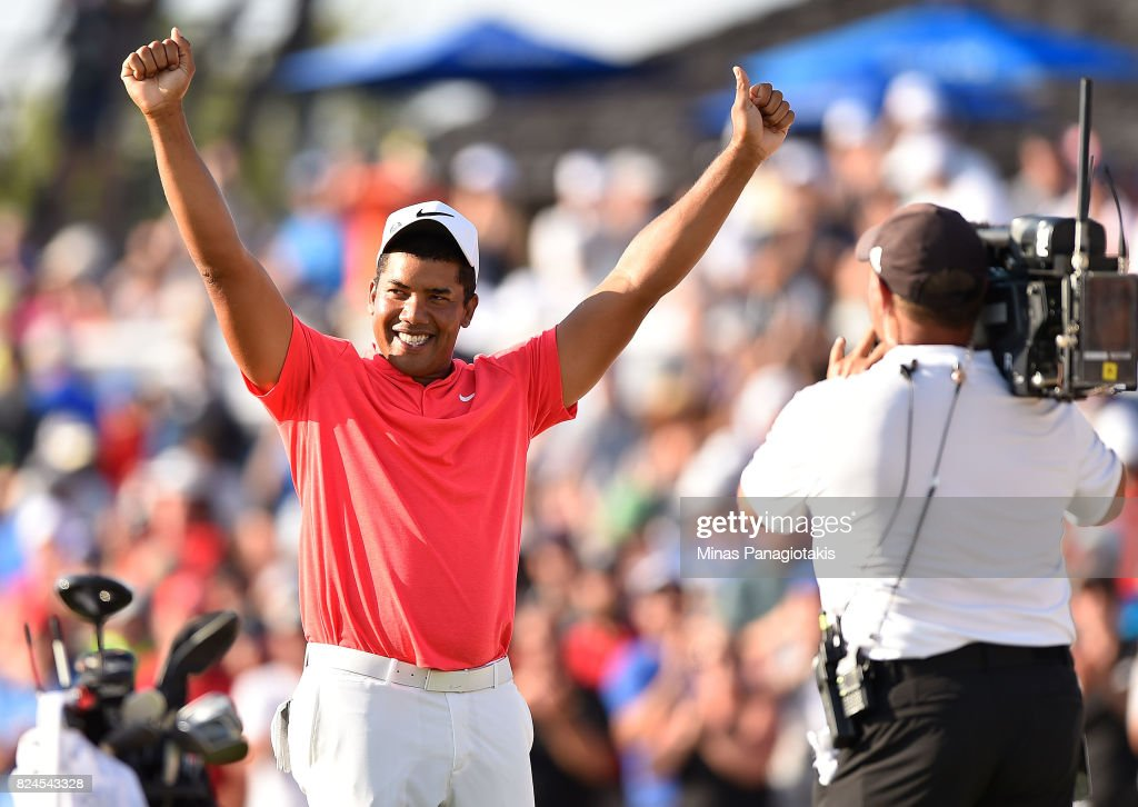 Jhonattan Vegas of Venezuela reacts to his winning putt during a sudden death playoff during the final round of the RBC Canadian Open at Glen Abbey Golf Club on July 30, 2017 in Oakville, Canada.